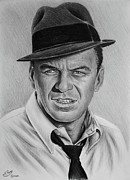 Famous Faces Drawings Prints - Ole Blue Eyes Print by Andrew Read