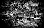 Cabin Wall Digital Art Posters - Ole River Farm B W Silver Springs 1 Poster by Sheri McLeroy