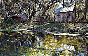 Cabin Wall Digital Art Posters - Ole Riverside Farm Silver Springs 1 Poster by Sheri McLeroy