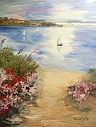 Oleanders Paintings - Oleanders at seaside by Maria Karalyos