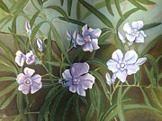 Oleanders Paintings - Oleanders in blue by Ritu Dalal Rana