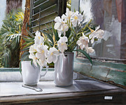 Interior Still Life Paintings - Oleandri Alla Finestra by Danka Weitzen