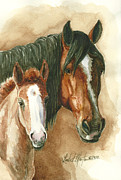 Mustang Paintings - Olga and Mimi by Linda L Martin