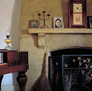 Oil Lamp Photos - Olivas Adobe Hearth by Kathleen Gauthier