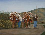Parrot Print Paintings - Olive Farmers  spain by Sid Ball