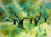 Greece Watercolor Paintings - Olive grove 6 by Thomas Habermann
