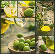 Glass Oil Dish Posters - Olive oil collage Poster by Mythja  Photography