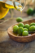 Olives Photo Posters - Olive oil Poster by Nikolina Petolas