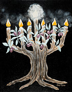 Tree Roots Paintings - Olive Tree Menorah by Cheryl Hymes