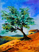 Lone Tree Painting Framed Prints - Olive Tree on the Hill Framed Print by Elise Palmigiani