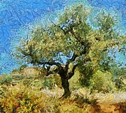 Manner Prints - Olive tree on Van Gogh manner Print by Dragica  Micki Fortuna