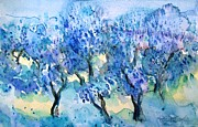 Olive Trees In A Tuscan Garden  Print by Trudi Doyle