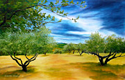 Olive Oil Originals - Olive trees by Jennifer  Blenkinsopp
