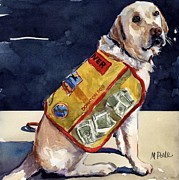 Yellow Labrador Retriever Paintings - Oliver Rocks the Vest by Molly Poole