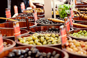 Kitchen Decor Photographs Prints - Olives in Barrels Print by Ivy Ho