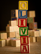 Alphabet Metal Prints - OLIVIA - Alphabet Blocks Metal Print by Edward Fielding