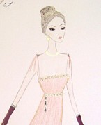 Fashion Illustration Pastels Posters - Olivia Poster by Christine Corretti