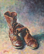 Warm Colors Paintings - Olivias boots by Adin OLTEANU