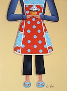 Folk Art Paintings - Olivias Orange Apron by Catherine Holman