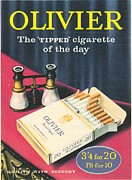 Smoking Drawings Posters - Olivier 1950s Uk Cigarettes Smoking Poster by The Advertising Archives