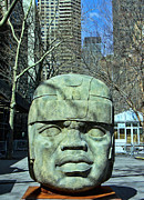 Olmec Framed Prints - Olmec Head Framed Print by Allen Beatty