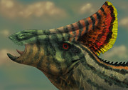 One Animal Digital Art Posters - Olorotitan Dinosaur Portrait Poster by Alvaro Rozalen