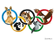 Sports Digital Art Metal Prints - Olympic animals Metal Print by Veronica Minozzi