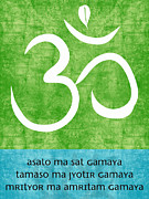 Calm Mixed Media Posters - Om Asato Ma Sadgamaya Poster by Linda Woods
