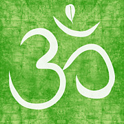 Yoga Studio Prints - Om Green Print by Linda Woods