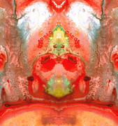 India Mixed Media Metal Prints - Om - Red Meditation - Abstract Art By Sharon Cummings Metal Print by Sharon Cummings