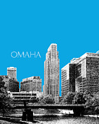 Omaha Skyline - Ice Blue Print by DB Artist