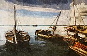 Adventure Digital Art Originals - Omani Dhow sailing boats by Amyn Nasser