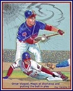 Unique Sports Art Collectibles By Ray Tapajna - Omar Vizquel Shortstop Magic by Ray Tapajna