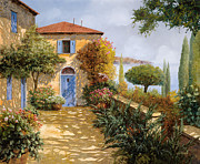 Blue Doors Framed Prints - Ombre Sul Terrazzo Framed Print by Guido Borelli