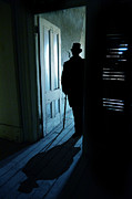Mysterious Doorway Posters - Ominous Man in a Top Hat Poster by Jill Battaglia