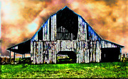 Photomanipulation Photo Prints - Ominous Sky Barn photoart Print by Debbie Portwood