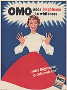 Nineteen Fifties Prints - Omo 1950s Uk Washing Powder Housewives Print by The Advertising Archives