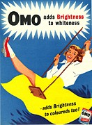 Nineteen-fifties Posters - Omo 1950s Uk Washing Powder Products Poster by The Advertising Archives