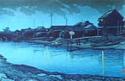 Omori Beach At Night Print by Pg Reproductions