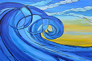 Surfing Art Paintings - On a Clear Day by Tamara Kapan