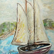 Docked Boat Painting Prints - On a Cloudy Day - Impressionist Art Print by Eloise Schneider