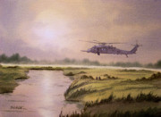 Usaf Painting Framed Prints - On A Mission - HH60G Helecopter Framed Print by Bill Holkham
