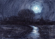 Ashcan School Paintings - On a Moonlit Night by Arthur Barnes