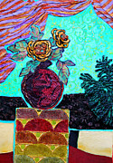 Drapery Mixed Media Posters - On a Pedestal Poster by Diane Fine