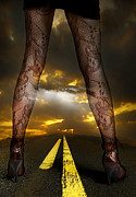 Legs Mixed Media Prints - On a Road Print by Svetlana Sewell