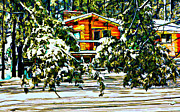 Log Cabin Art Art - On a Winter Day by Steve Harrington