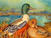 Waterfowl Paintings - On Alert by Joan Landry