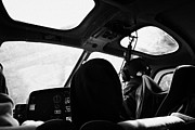 Helicopter Pilot Framed Prints - on board papillon helicopter tour female pilot flying into Grand canyon Arizona USA Framed Print by Joe Fox