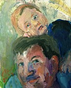Father And Son Drawings - On Daddys Shoulders by Elaine Schloss