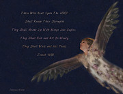 Christian Artwork Paintings - On Eagles Wings by Constance Woods
